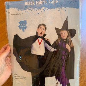 Kids Black Fabric Cape